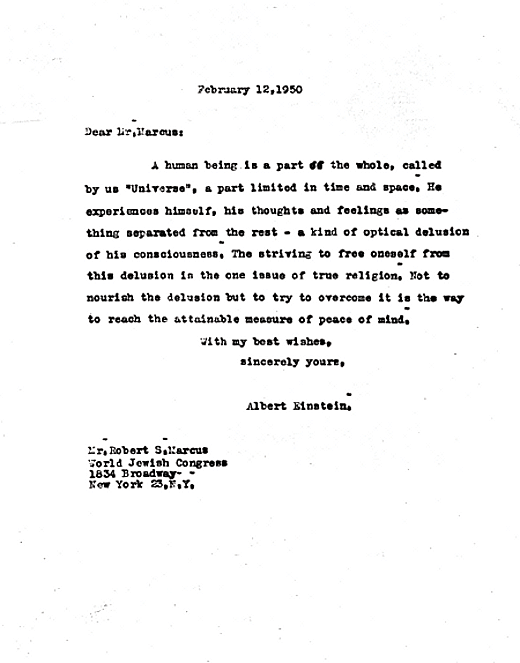 Carta de pésame del Albert Einstein